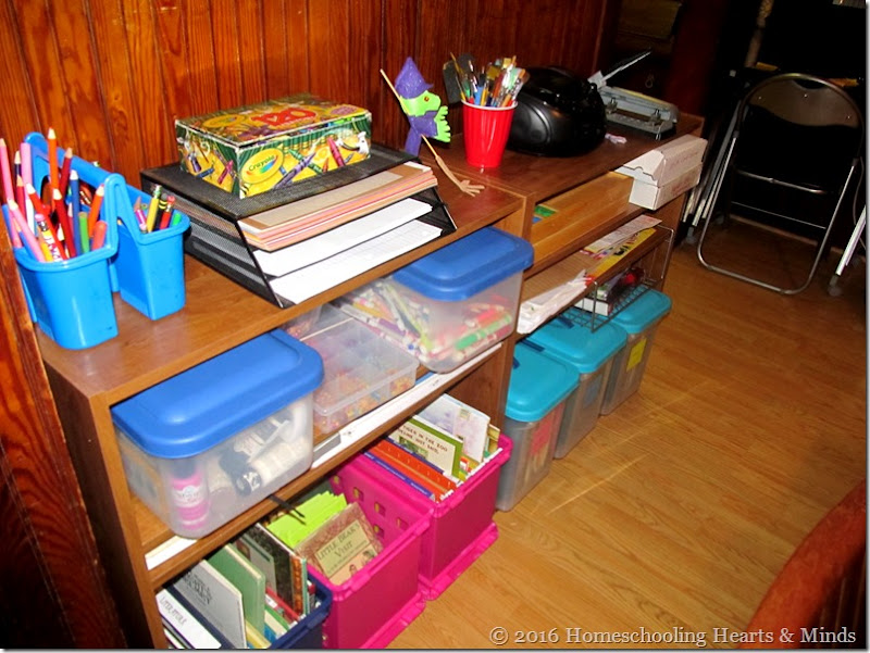 Organizing our homeschool at Homeschooling Hearts & Minds
