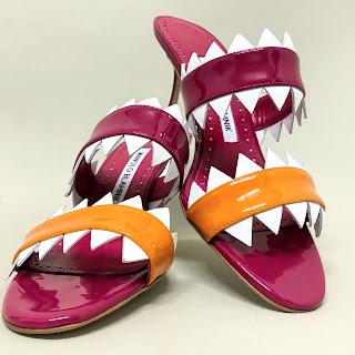 Manolo Blahnik Shark-Bite Mules