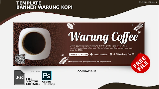 Download Spanduk Warung Kopi PSD