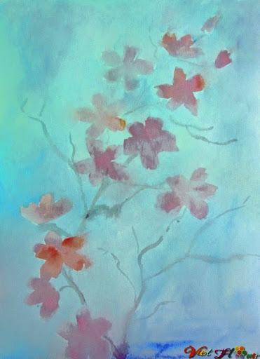 vẽ hoa anh đào bằng màu nước (Bước 5)