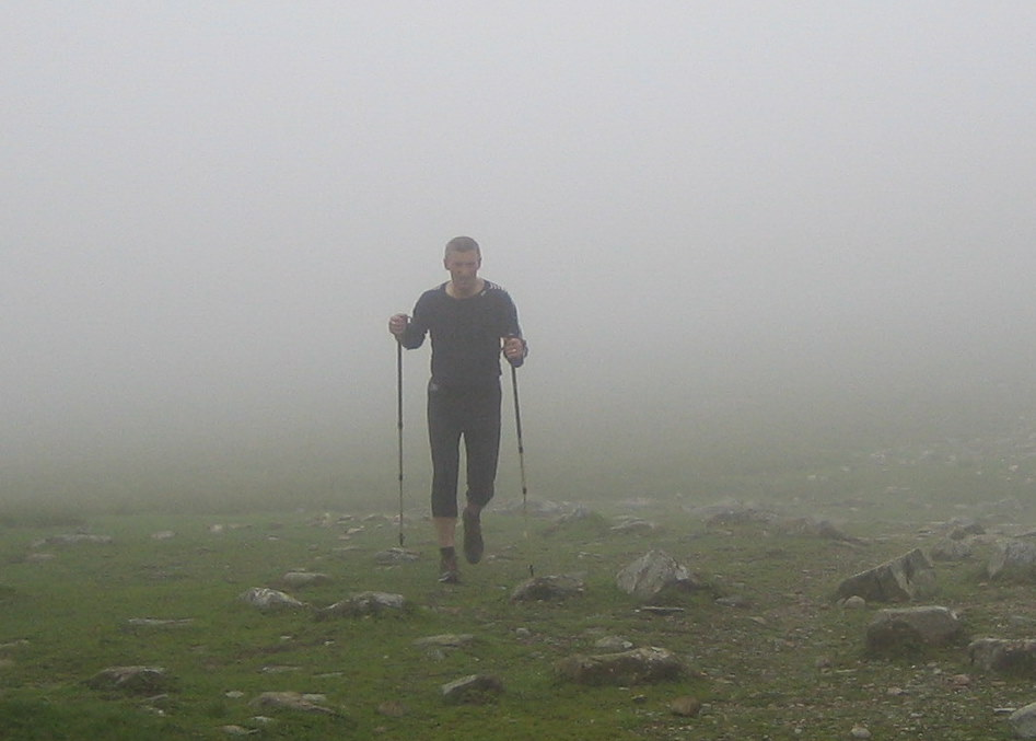 Geoff Davis on his successful completion of 50 Lake District peaks in under 24 hours. Picture courtesy of Mandy Dawson.