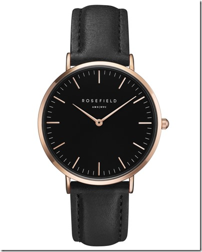Rosefield Watch - The Bowery Black Black Rose Gold Case