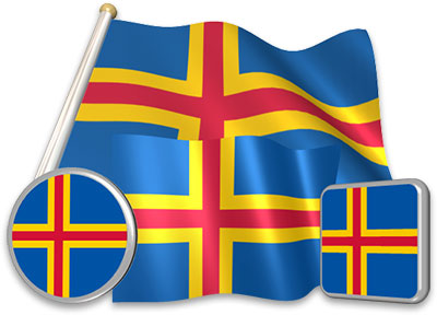 Aland-Island  flag animated gif collection