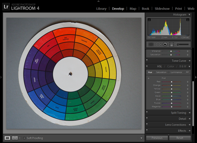 Conventional Colour Wheel in lightroom