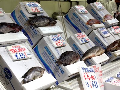 Fish for sale at Billingsgate fish market in London