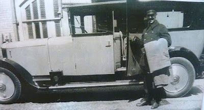 Albert Thorogood, chauffeur and head gardener at Little Shelford Hall in the 1920s. When the owner Mrs Altham died, she left Albert the bentley.
