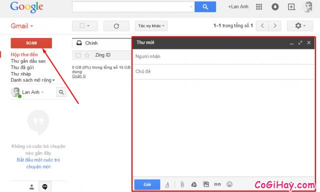 mở chương trình soạn thảo email gmail