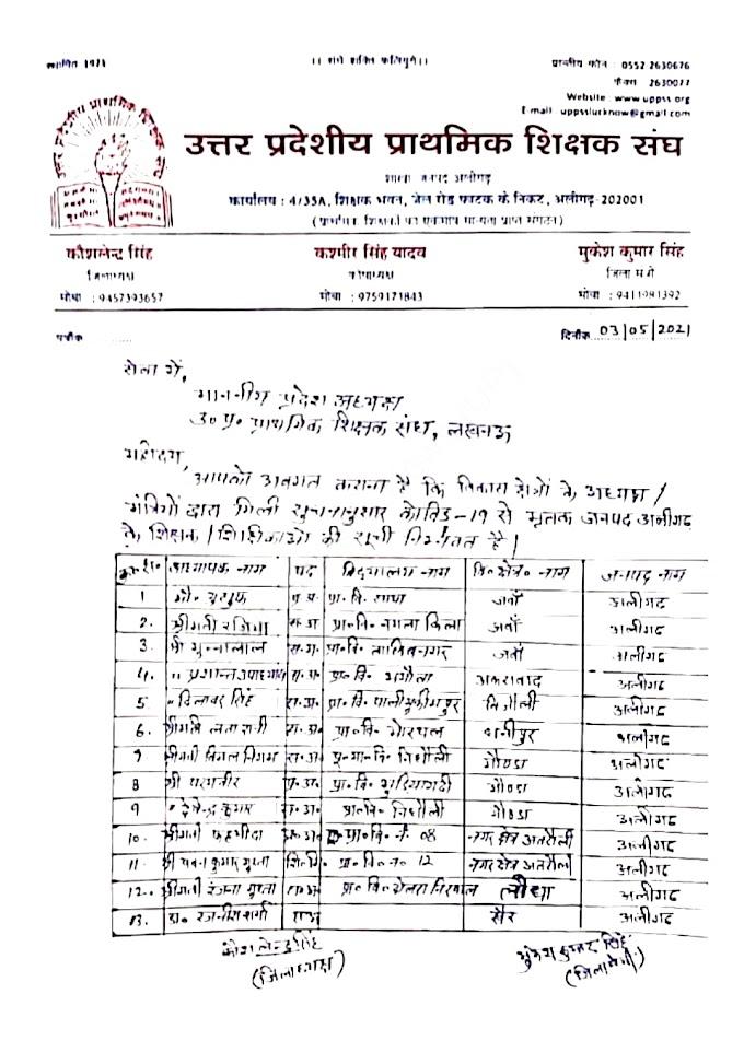 उत्तर प्रदेश के प्राथमिक शिक्षक संघ, अलीगढ़ द्वारा मृतक शिक्षक/शिक्षिकाओं की सूची हुई जारी, देखें