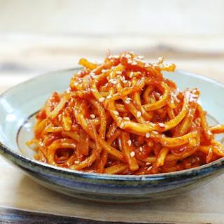 Ojingeochae Muchim (Spicy Squid Strips).