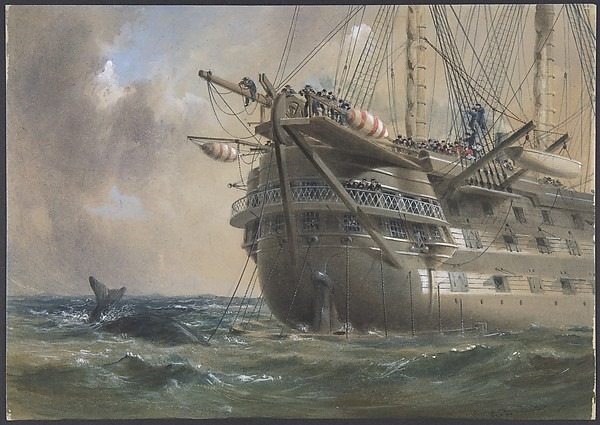 """H.M.S. Agamemnon Laying the Atlantic Telegraph Cable in 1858: a Whale Crosses the Line"", Robert Charles Dudley."