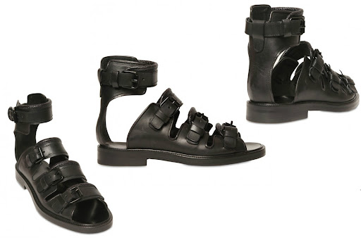 GIVENCHY - LEATHER BUCKLE UP SANDALS