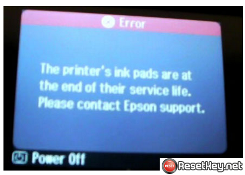 Epson EP-805A has error Printer ink pads are at the end of their service life