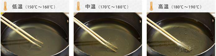 菜箸で油の温度を確認