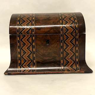 Marquetry Inlaid Figured Walnut Box