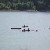 Couple canoes flipped over
