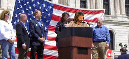 Jesus at an election rally