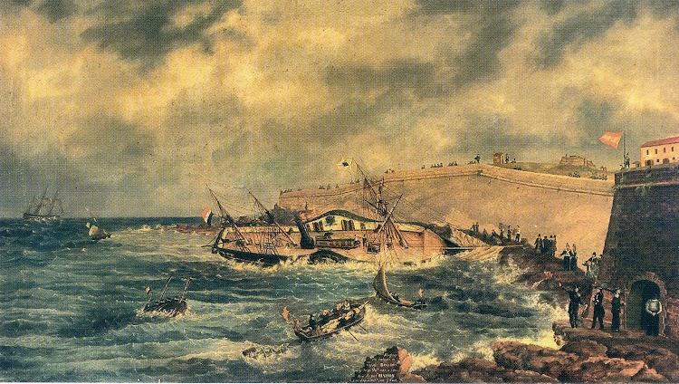 Naufrage du bateau a vapeur BRANDON. Coleccion Hereus de Juan Ortiz Font. Cróniques pictóriques del XIX.jpg