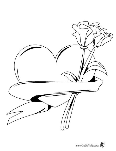 Heart  Roses Bunch Coloring Page