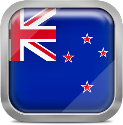 New Zealand square flag with metallic frame