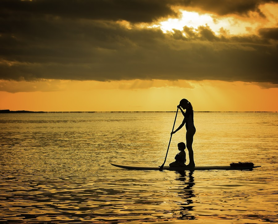 SUP1 by Troy Wheatley - People Family ( water, mother and child, sunset, paddleboard, sup, paddle,  )