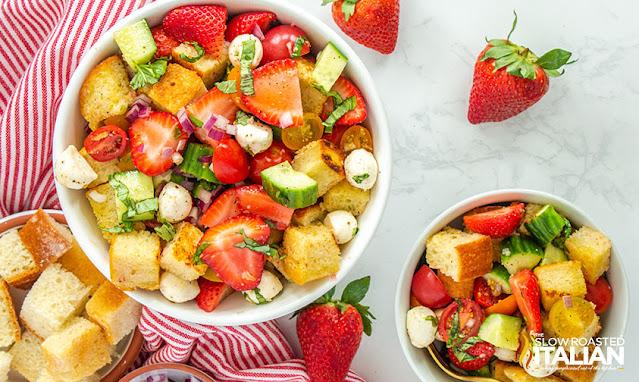 panzanella salad in a serving bowl