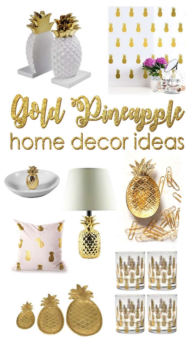 20 beautiful gold pineapples for home decor the kim six fix for Ananas dekoration
