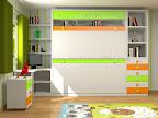 Habitacion Abatible de 2 camas, mesa de estudio, mesilla, sinfonier