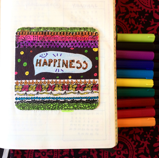 #100DaysOfDoodles | Day 23 | Happiness | The 100 Day Project 2017