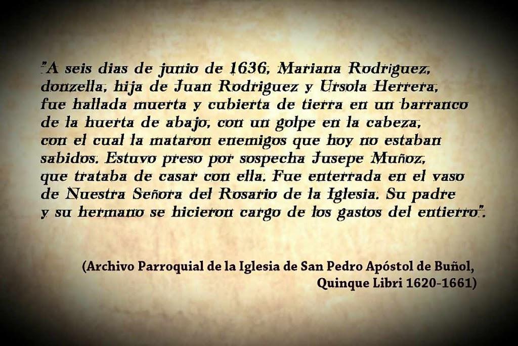 Transcripción de la muerte de Mariana en los libros parroquiales de Buñol.