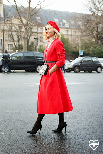 Nasiba Adilova; editor; Dior hat; Dior; coat; Dior shoes; Dior bag;