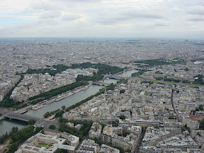 The Seine, Le Grand Palais, The Tuileries, The Louvre from the top of The Eiffel Tower