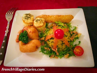 French Village Diaries volunteering meal out mixed seafood entree