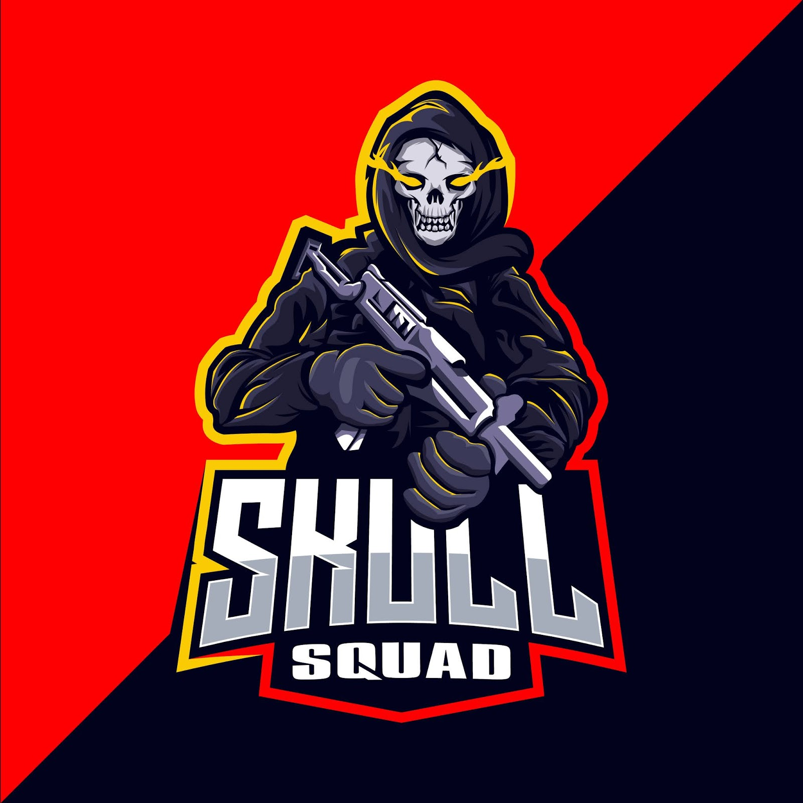 Skull Squad With Gun Mascot Esport Free Download Vector CDR, AI, EPS and PNG Formats