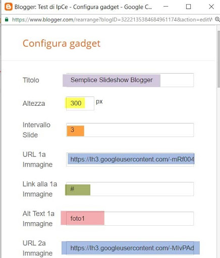 configurazione widget blogger