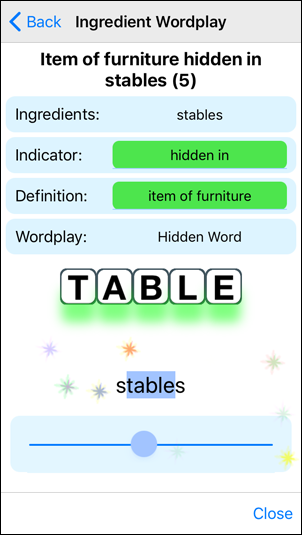 App Practice Clue Slider - Right Answer
