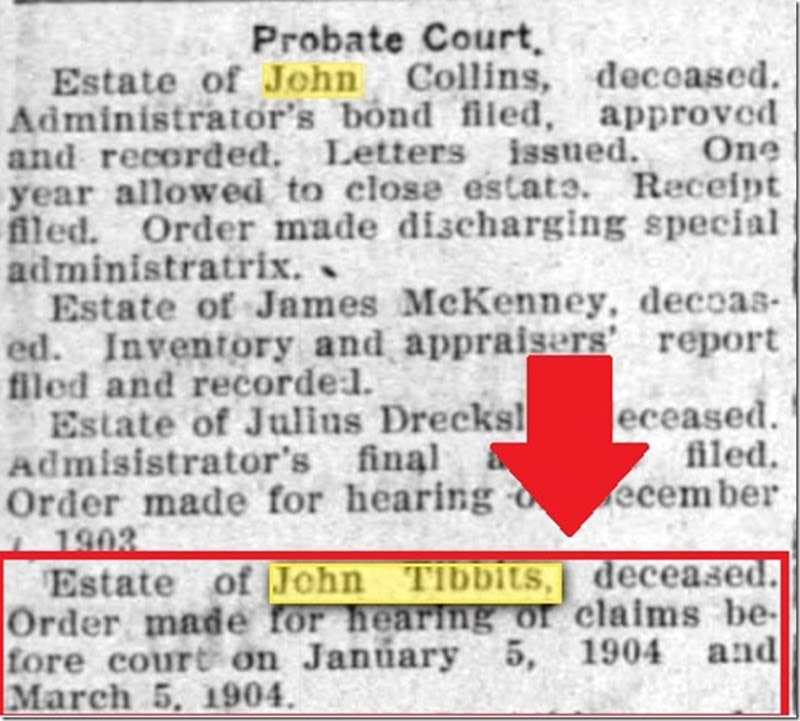 John R Tibbits estate hearing_annot