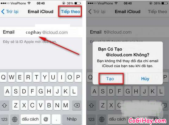 Chọn tài khoản iCloud, ID Apple