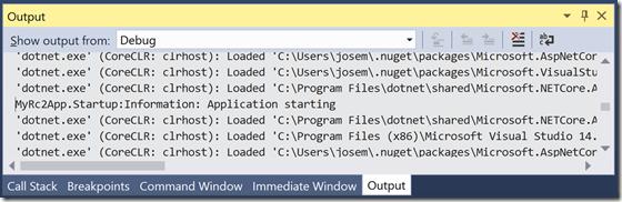 """Mensaje de información apareciendo en la ventana """"Output"""" de Visual Studio"""