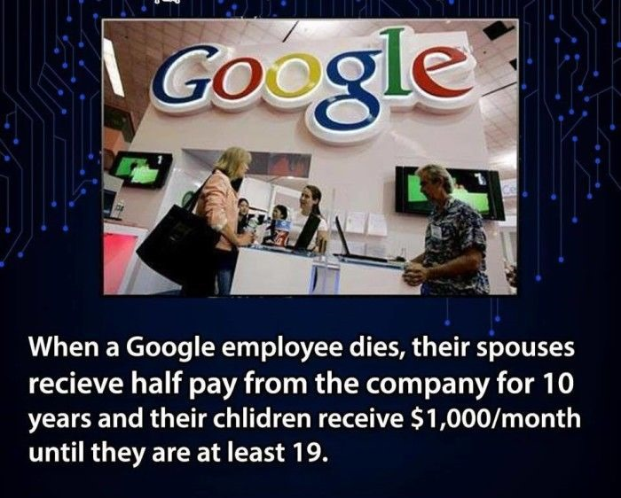google employees spouse recieve half there salary after there death