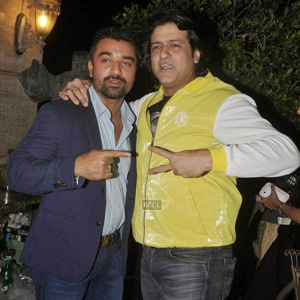 Ajaz Khan and Arman Kohli pose together during the birthday party of Sangram Singh, held at Churchgate, on July 20, 2014.(Pic: Viral Bhayani)
