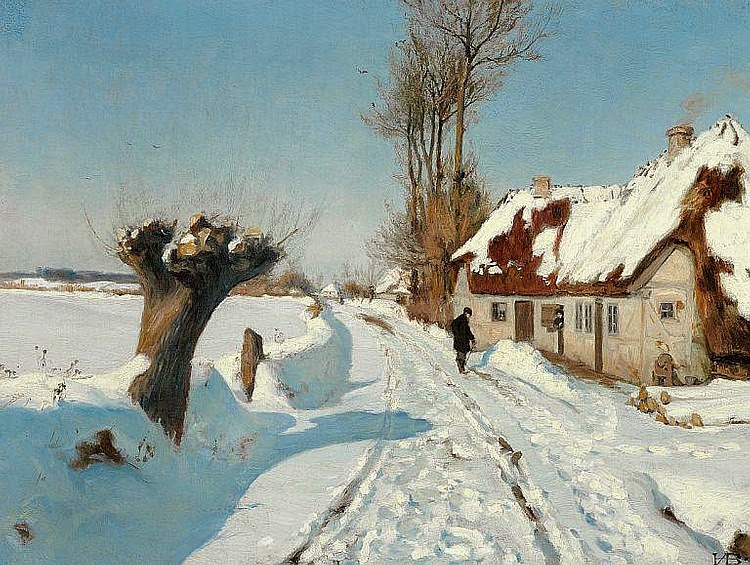 Hans Anderson Brendekilde - A talk by the street door on a sunny winter day