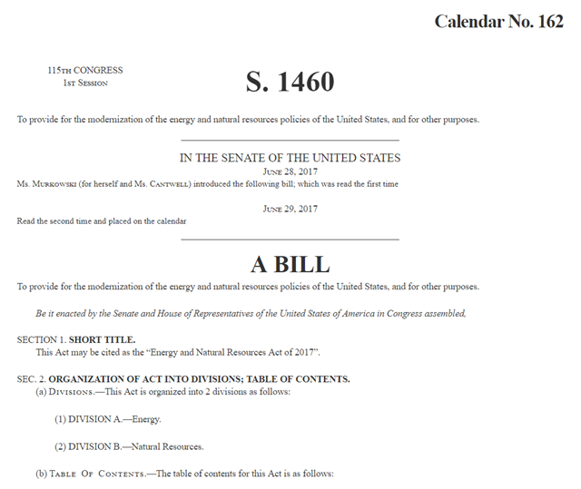 Cover sheet of the U.S. Senate bill S.1460, 'Energy and Natural Resources Act of 2017'. Graphic: U.S. Senate / 115th Congress
