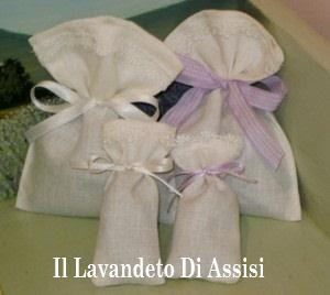 Sacchetto in lino con merletto lavanda bomboniere