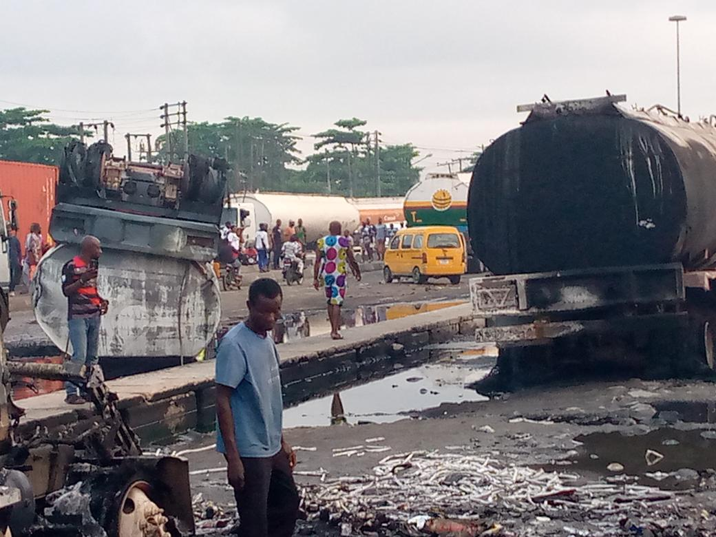 Fire Guts Petrol Tanker , Stationary Trucks In Mile 2 , Lagos ( Photos )