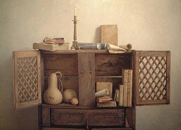 alazena con libros calabaza y candelabro, muñoz vera
