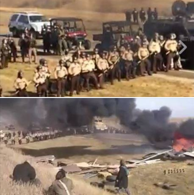 Police close in on peaceful demonstrators at the Dakota Access Pipeline (DAPL) protest, 27 October 2016. Photo: Morton County Sheriff's Department