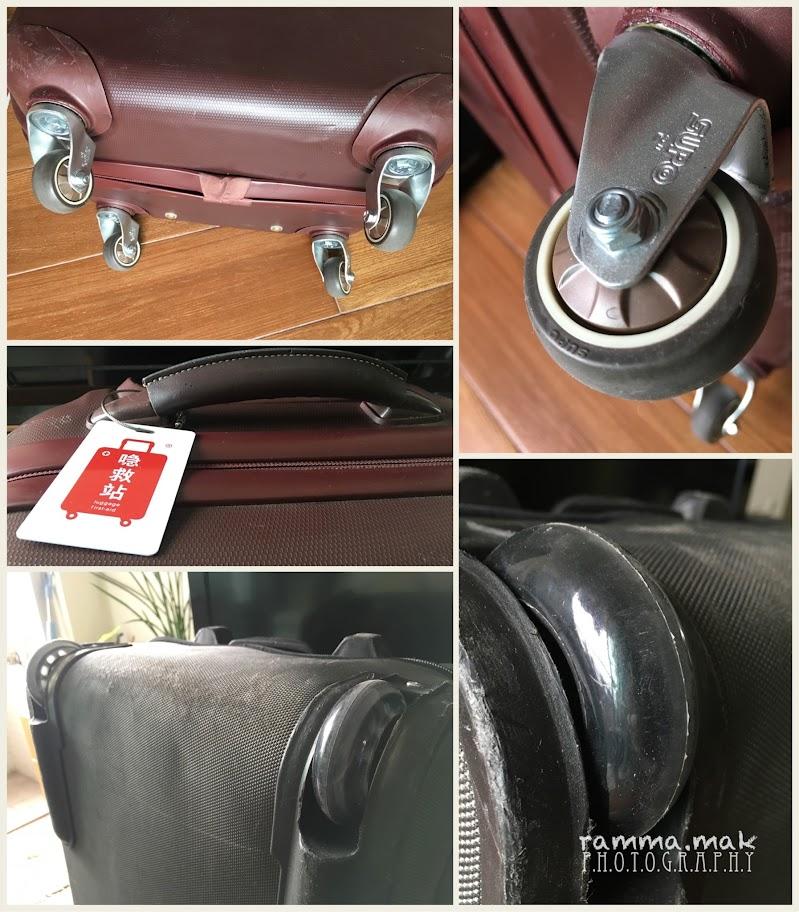 維修後的行李箱輪子