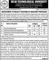 DTU Assistant Professor Recruitment 2016 www.indgovtjobs.in