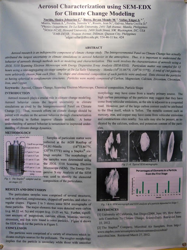 LEAN CC Poster: Aerosol characterization using SEM-EDX for climate change modeling