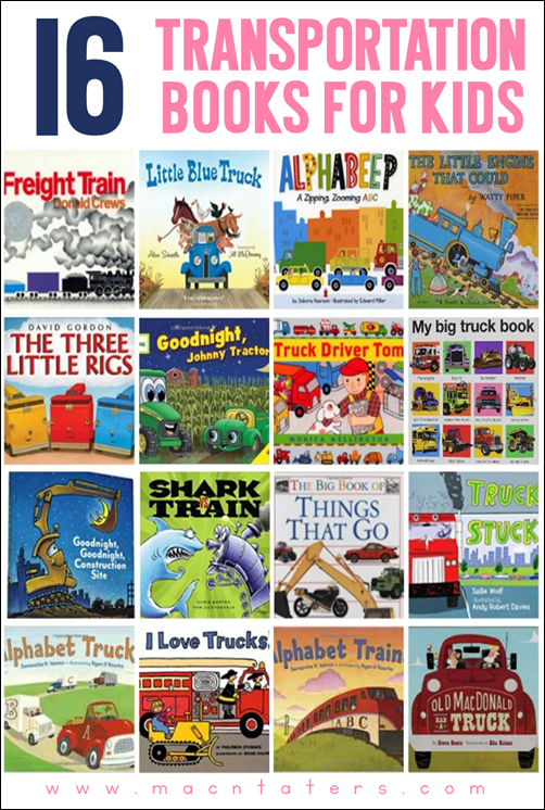 Transportation Themed Books for Kids. These are great for toddlers and preschoolers.